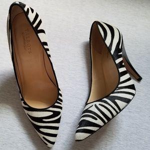 Talbots pumps calf hair zebra print black white 10
